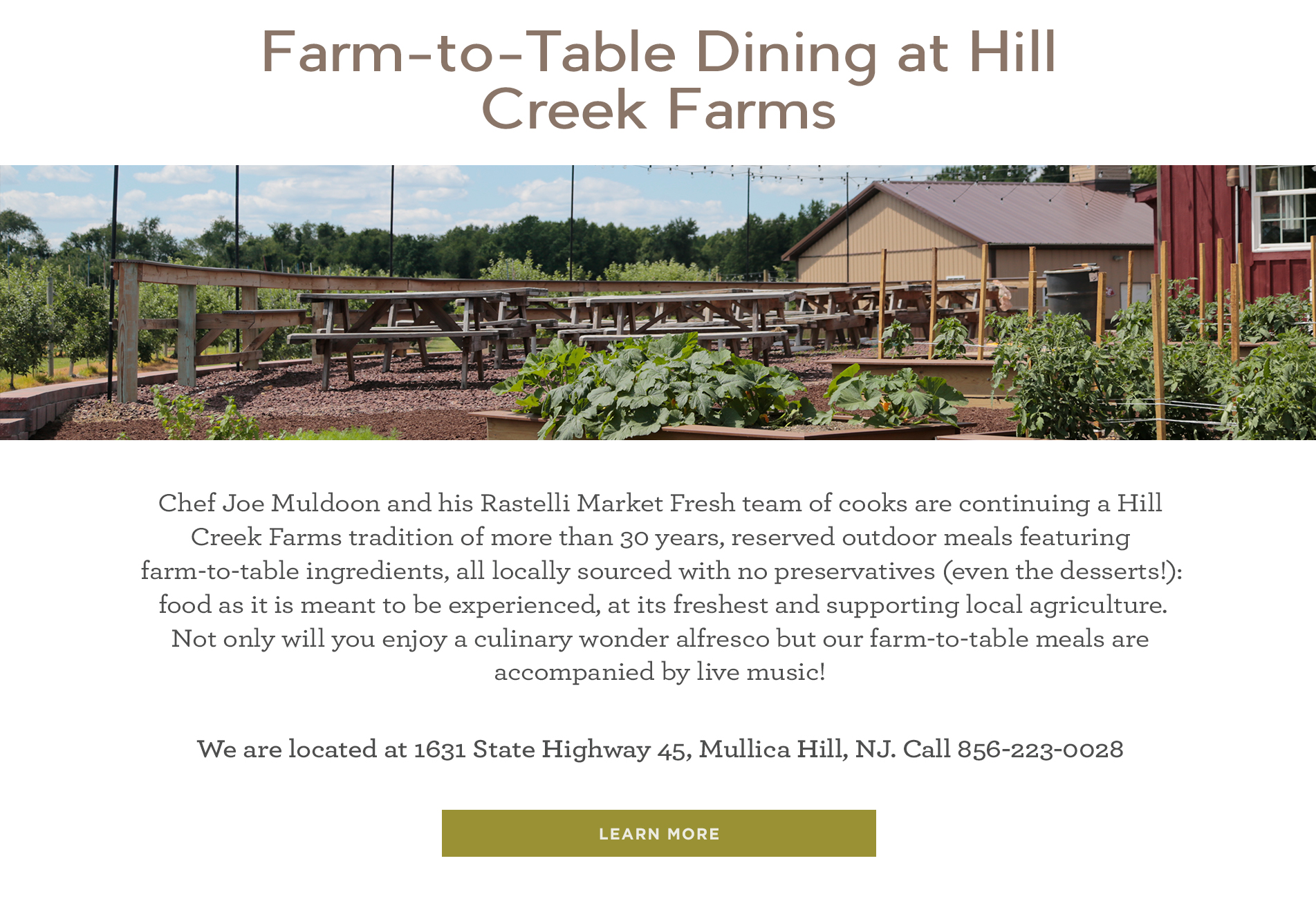 Farm-to-Table Dining at Hill Creek Farms